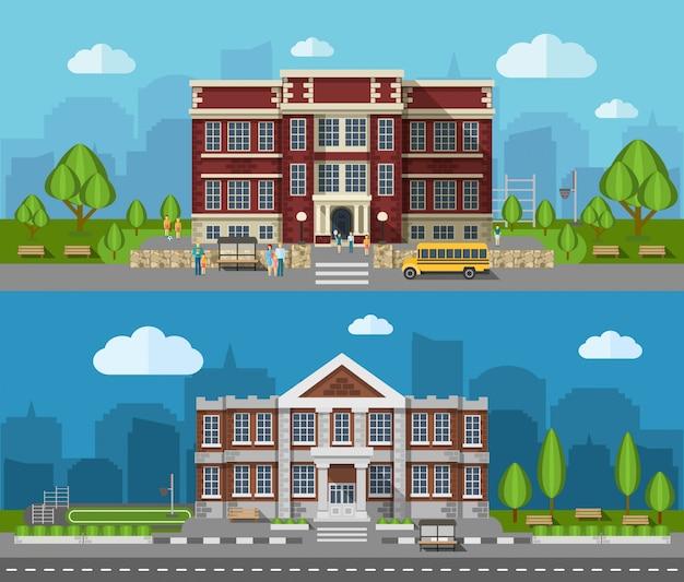 Bannière Plat école Vecteur gratuit