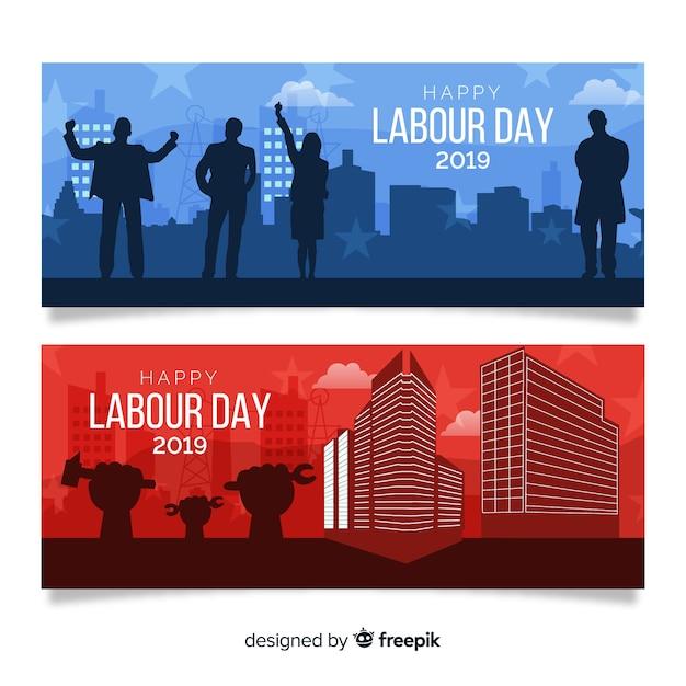Bannière plate de bonne fête du travail pour les médias web et sociaux Vecteur gratuit