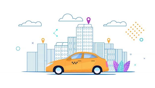 Bannière plate city yellow taxi rides route ordonnée. Vecteur Premium