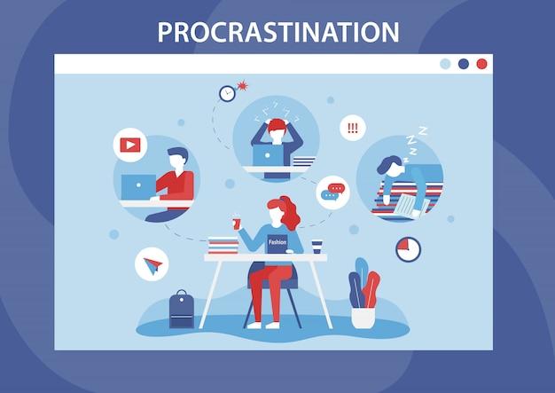 Bannière plate de dessin animé de faiblesse de la procrastination humaine Vecteur Premium