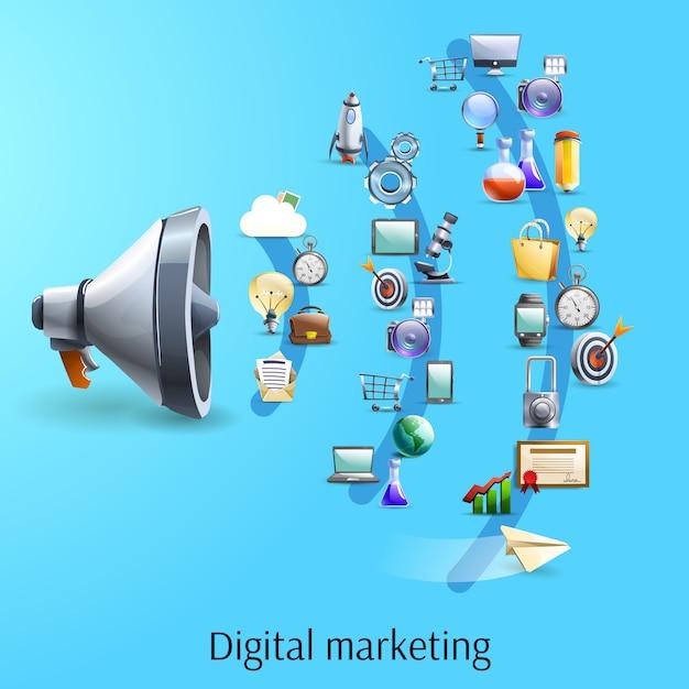 Bannière plate du concept marketing numérique Vecteur gratuit