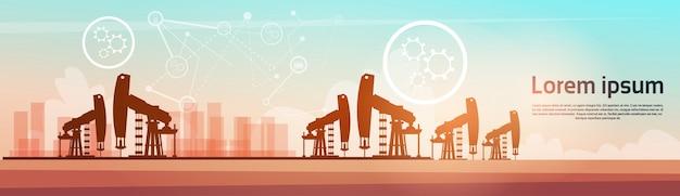 Bannière de plate-forme de grue de plate-forme pétrolière pumpjack Vecteur Premium