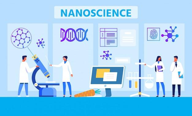 Bannière Plate De Publicité De Métaphore De Laboratoire De Nanoscience Vecteur Premium