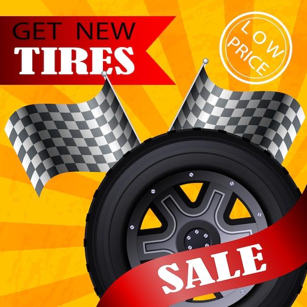 Bannière plate vecteur obtenir de nouveaux prix de vente de pneus bas. Vecteur Premium