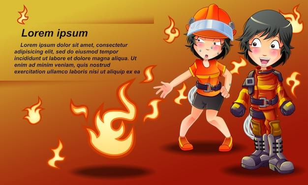 Bannière de pompier en style cartoon. Vecteur Premium