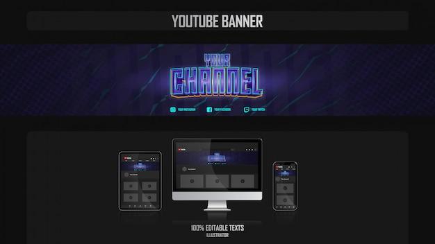 Bannière Pour Canal De Médias Sociaux Avec Concept De Joueur Vecteur Premium