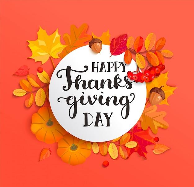 Bannière Pour La Célébration Du Jour De Thanksgiving Heureux. Vecteur Premium