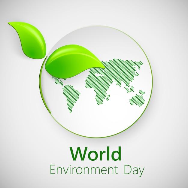 Bannière Pour La Journée Mondiale De L'environnement Avec Des Feuilles Vertes. Vecteur Premium