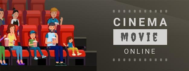 Bannière pour regarder un film de cinéma en ligne à la maison et sur l'illustration vectorielle mobile. concept de style plat design bande de film Vecteur Premium