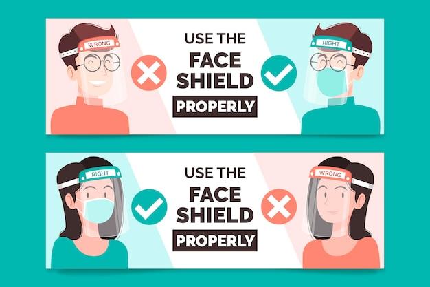 Bannière Pour L'utilisation Du Masque Facial Vecteur gratuit