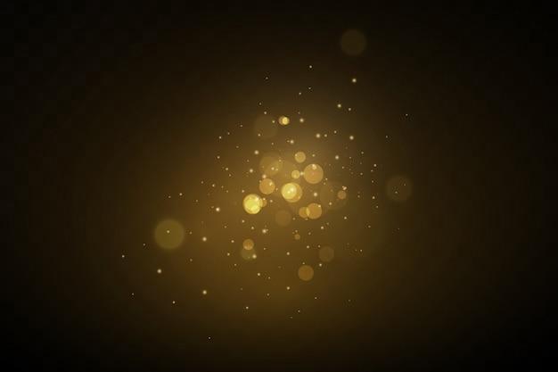 Bannière Avec De La Poussière Jaune. Effet De Lumière Sur De Belles Bannières. Effet Poussière. Les Particules De Poussière Scintillent Sur Un Fond Sombre. Vecteur Premium