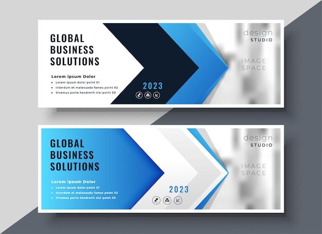 Bannière de présentation corporative de style flèche bleue Vecteur gratuit