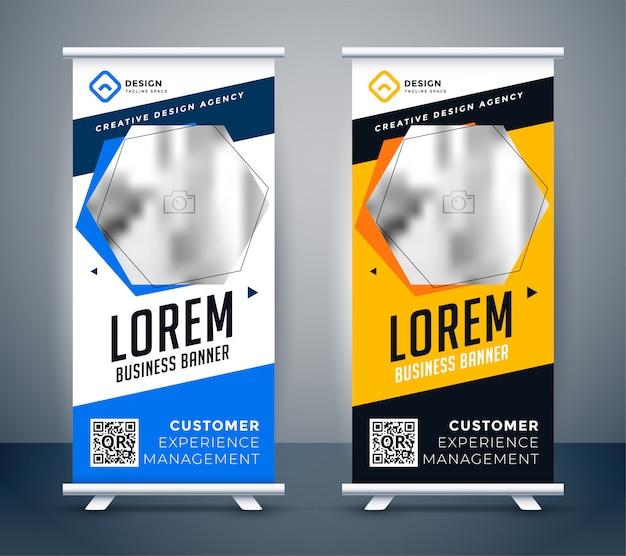Bannière de présentation rollup dans un style créatif moderne Vecteur gratuit