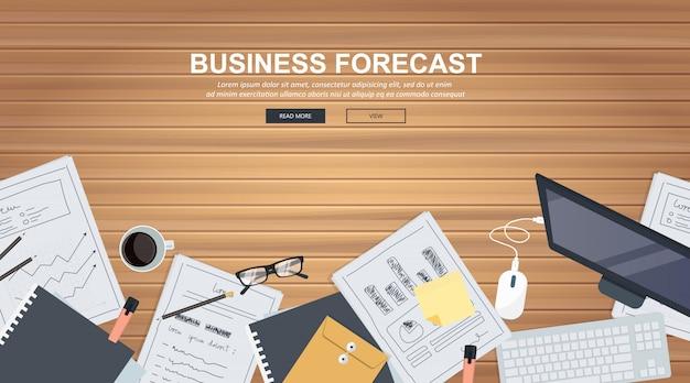 Bannière de prévisions commerciales Vecteur Premium