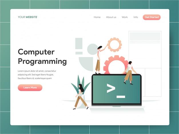 Bannière de programmation informatique de la page de destination concept Vecteur Premium