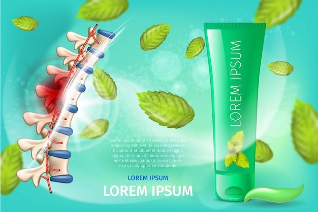 Bannière promo de vecteur de crème anti-arthrite naturelle Vecteur Premium