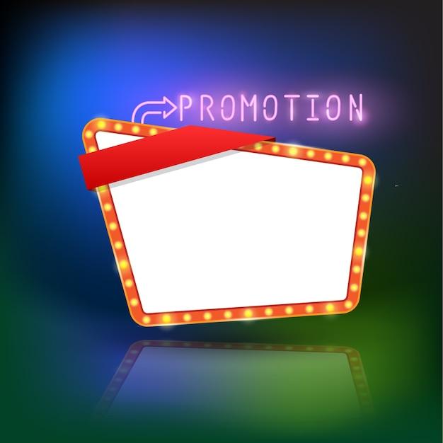 Bannière de promotion abstraite lumière rétro Vecteur Premium