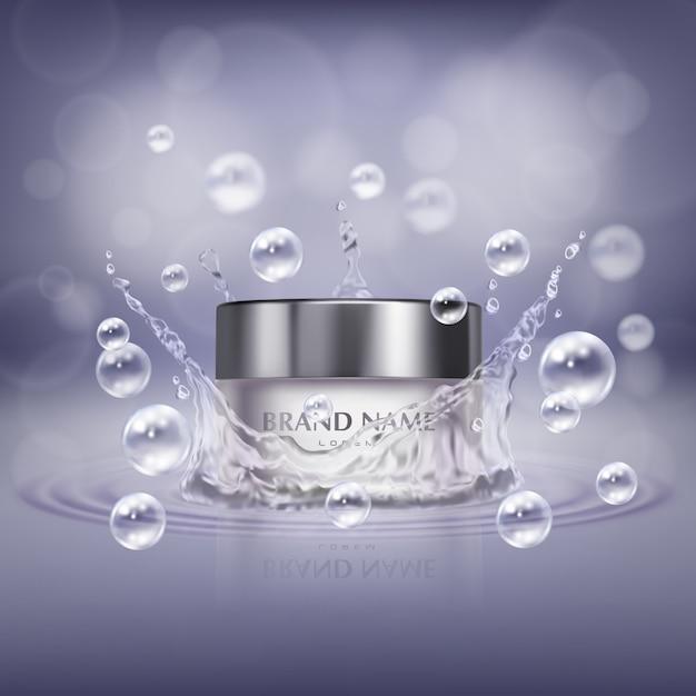 Bannière de promotion avec bocal en verre réaliste de produit cosmétique, bouteille de crème pour les mains ou facial Vecteur gratuit