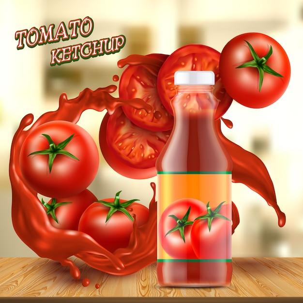 Bannière de promotion avec une bouteille en verre réaliste de ketchup, avec des touches de sauce rouge Vecteur gratuit