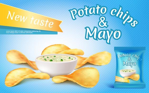Bannière de promotion avec des chips de pommes de terre réalistes et mayo dans un bol Vecteur Premium