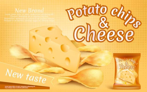 Bannière de promotion avec des chips de pommes de terre réalistes et un morceau de fromage Vecteur gratuit