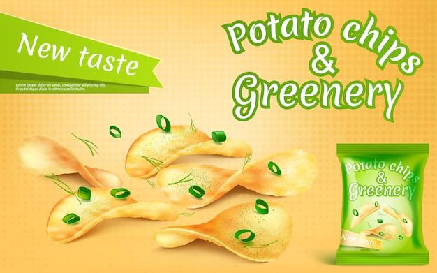 Bannière de promotion avec des chips de pommes de terre réalistes et de la verdure Vecteur Premium