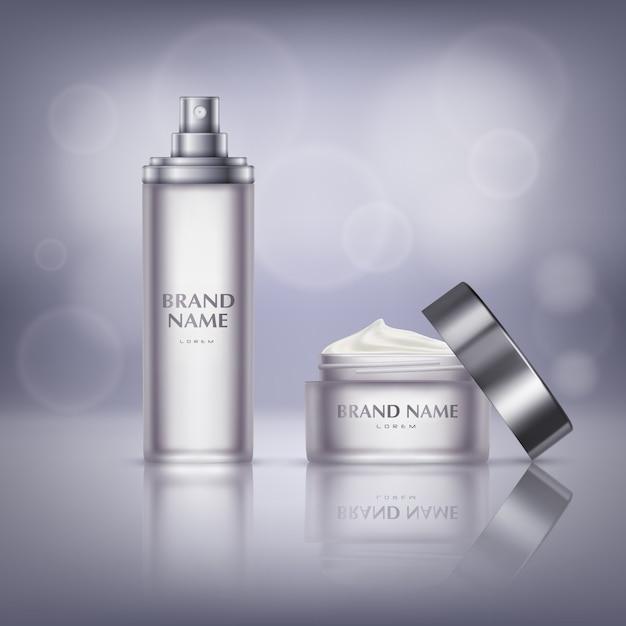 Bannière de promotion cosmétique, bocal en verre avec couvercle ouvert, pleine de crème hydratante Vecteur gratuit