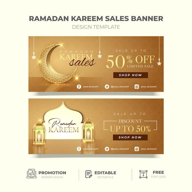 Bannière De Promotion élégante Ramadan Kareem En Or Vecteur Premium