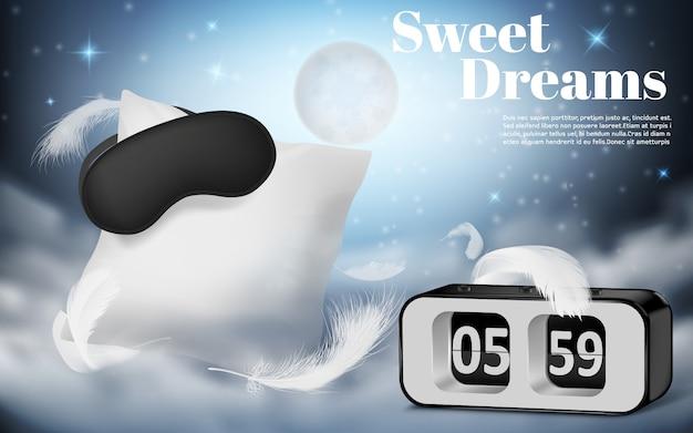 Bannière de promotion avec un oreiller blanc réaliste, les yeux bandés et réveil sur fond bleu nuit Vecteur gratuit