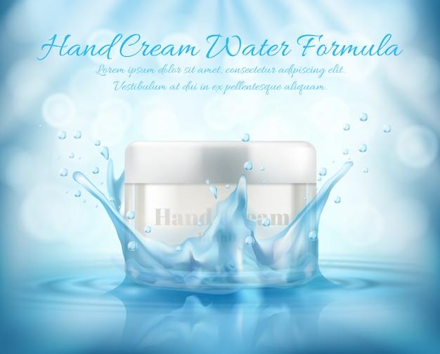 Bannière de promotion réaliste 3d, mock up avec pot de verre de cosmétique, crème pour les mains Vecteur gratuit