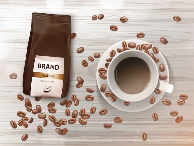 Bannière de promotion avec une tasse de café sur une soucoupe, des haricots bruns et un emballage d'aluminium avec des grains d'arabica. Vecteur gratuit