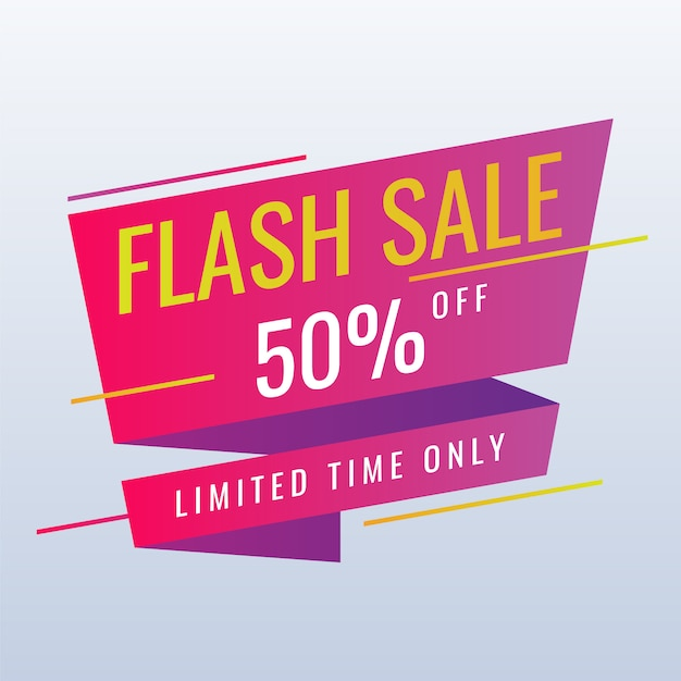 Bannière de promotion de vente flash sur blanc Vecteur Premium