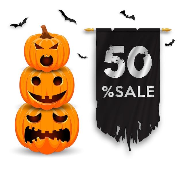 Bannière De Promotion De Vente Halloween Avec Citrouilles, Chauves-souris Et Drapeau En Lambeaux. Vecteur Premium