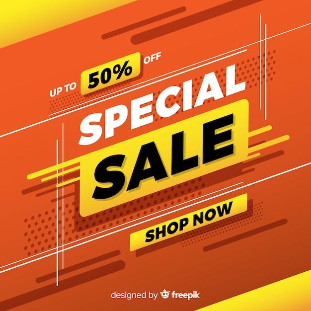Bannière de promotion vente spéciale abstraite Vecteur gratuit