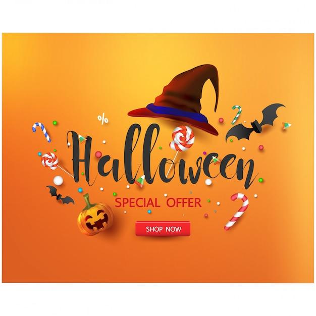 Bannière De Promotion Des Ventes Avec Des Bonbons D'halloween Et Un Chapeau D'halloween Vecteur Premium
