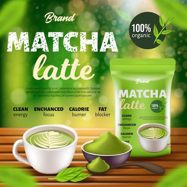 Bannière promotionnelle de café matcha latte, paquet de doyens, tasse Vecteur Premium