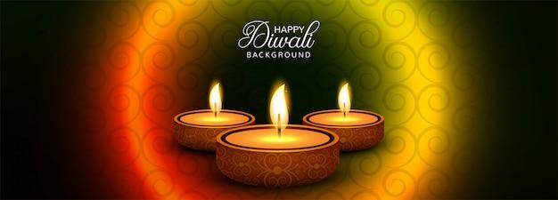 Bannière promotionnelle happy diwali sur les médias sociaux avec lampes à huile illuminées Vecteur gratuit