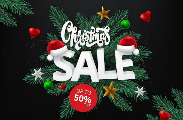 Bannière Promotionnelle De Vente De Noël Avec Des Cadeaux Et Des éléments De Noël Colorés Vecteur Premium