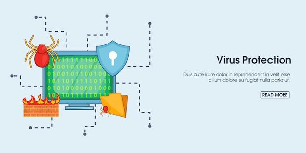 Bannière De Protection Antivirus Horizontale, Style Dessin Animé Vecteur Premium