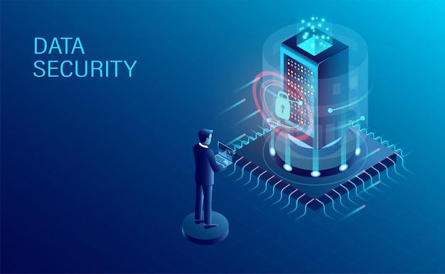 Bannière de protection de traitement de données Vecteur Premium