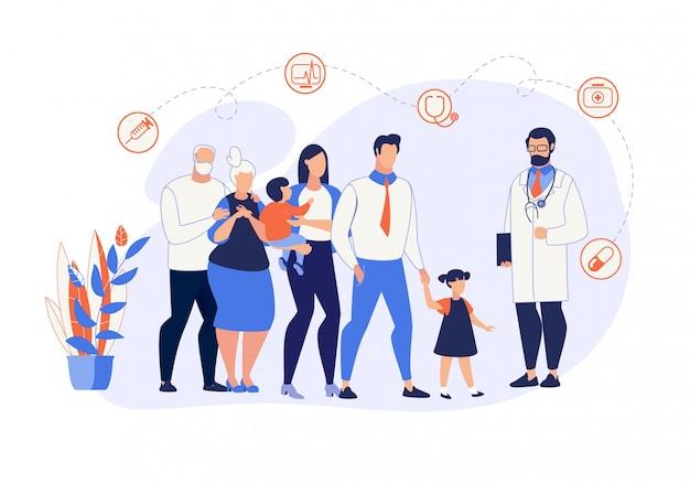 Bannière publicitaire médecine familiale cartoon flat. Vecteur Premium