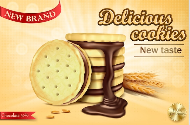 Bannière Publicitaire Pour Biscuits Sandwich Au Chocolat Vecteur gratuit