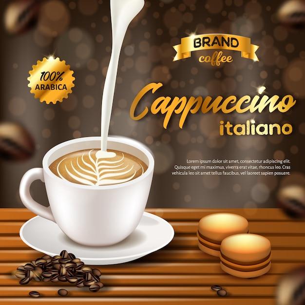 Bannière Publicitaire Pour Café Cappuccino Italiano Arabica. Vecteur Premium