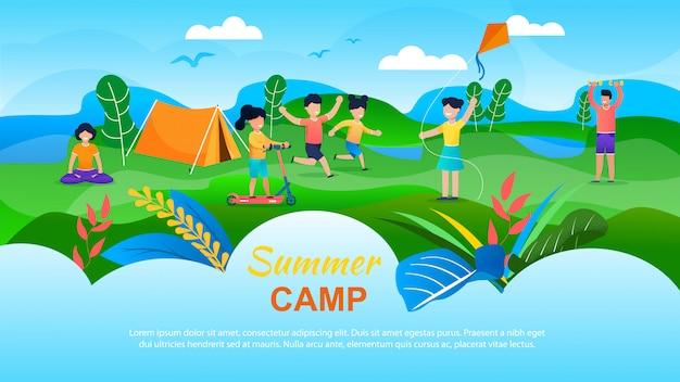 Bannière publicitaire pour camp d'été pour enfants. Vecteur Premium