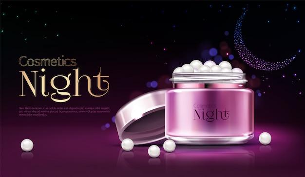 Bannière publicitaire de produits cosmétiques nuit femme, affiche de promotion. Vecteur gratuit