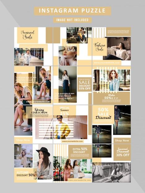 Bannière puzzle fashion web pour les médias sociaux Vecteur Premium