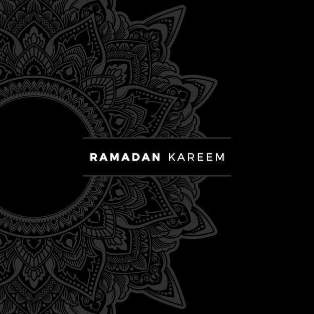 Bannière ramadan kareem avec cadre d'art floral zentangle doodle Vecteur Premium