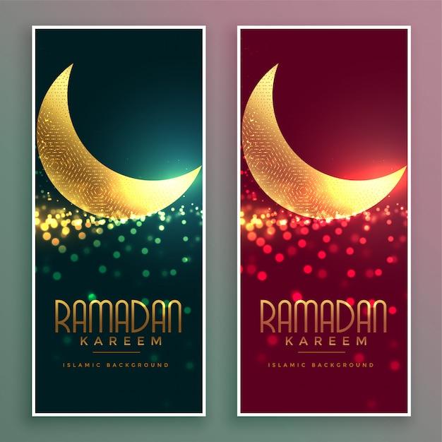 Bannière de ramadan kareem de lune magique brillant or Vecteur gratuit