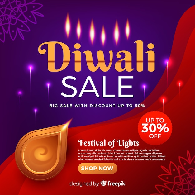 Bannière Réaliste De Vente De Vacances De Diwali Vecteur gratuit