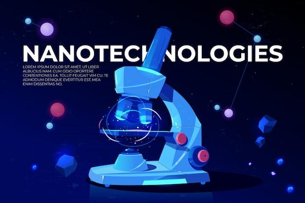 Bannière de recherche sur les nanotechnologies Vecteur gratuit